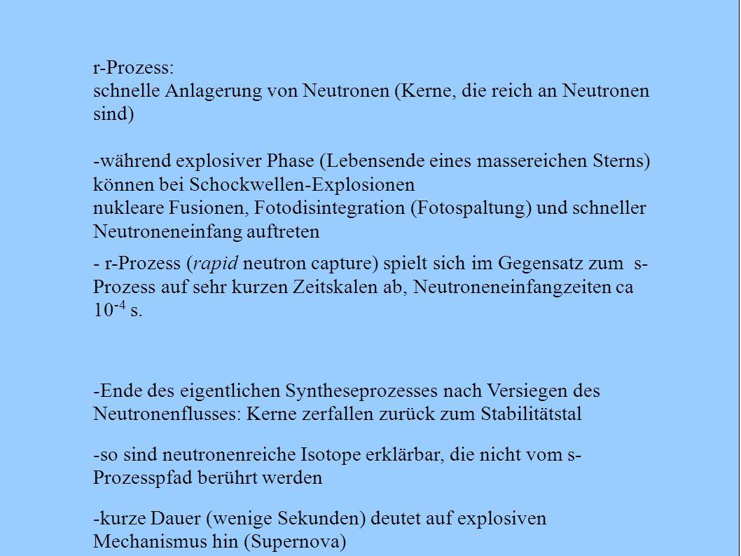 r-Prozess: schnelle Anlagerung von Neutronen (Kerne, die reich an Neutronen sind) -während explosiver Phase (Lebensende eines massereichen Sterns) kön
