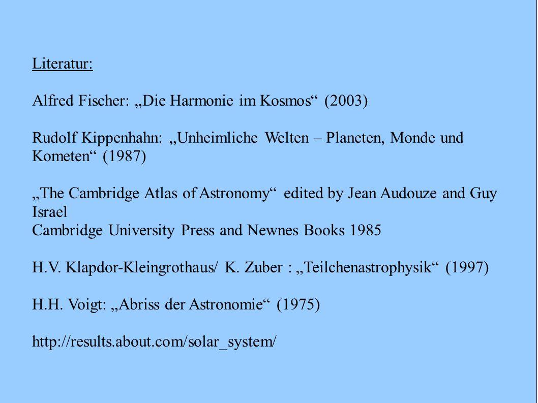 Literatur: Alfred Fischer: Die Harmonie im Kosmos (2003) Rudolf Kippenhahn: Unheimliche Welten – Planeten, Monde und Kometen (1987) The Cambridge Atla