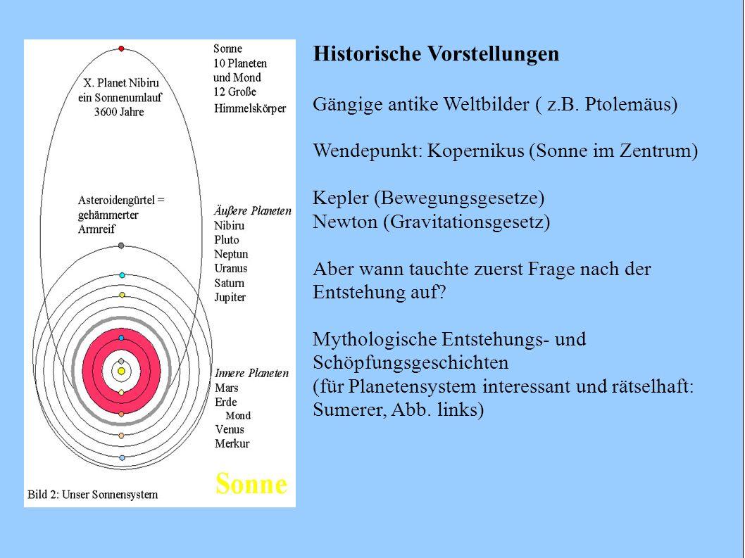 Historische Vorstellungen Gängige antike Weltbilder ( z.B. Ptolemäus) Wendepunkt: Kopernikus (Sonne im Zentrum) Kepler (Bewegungsgesetze) Newton (Grav