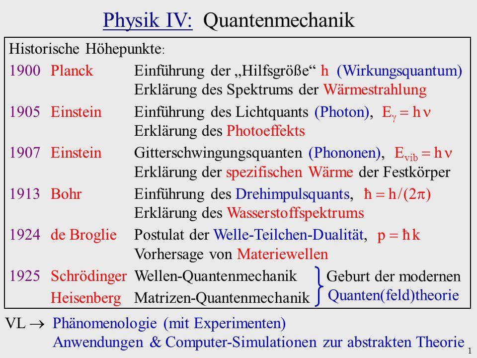1 Physik IV: Quantenmechanik Historische Höhepunkte : 1900PlanckEinführung der Hilfsgröße h (Wirkungsquantum) Erklärung des Spektrums der Wärmestrahlu