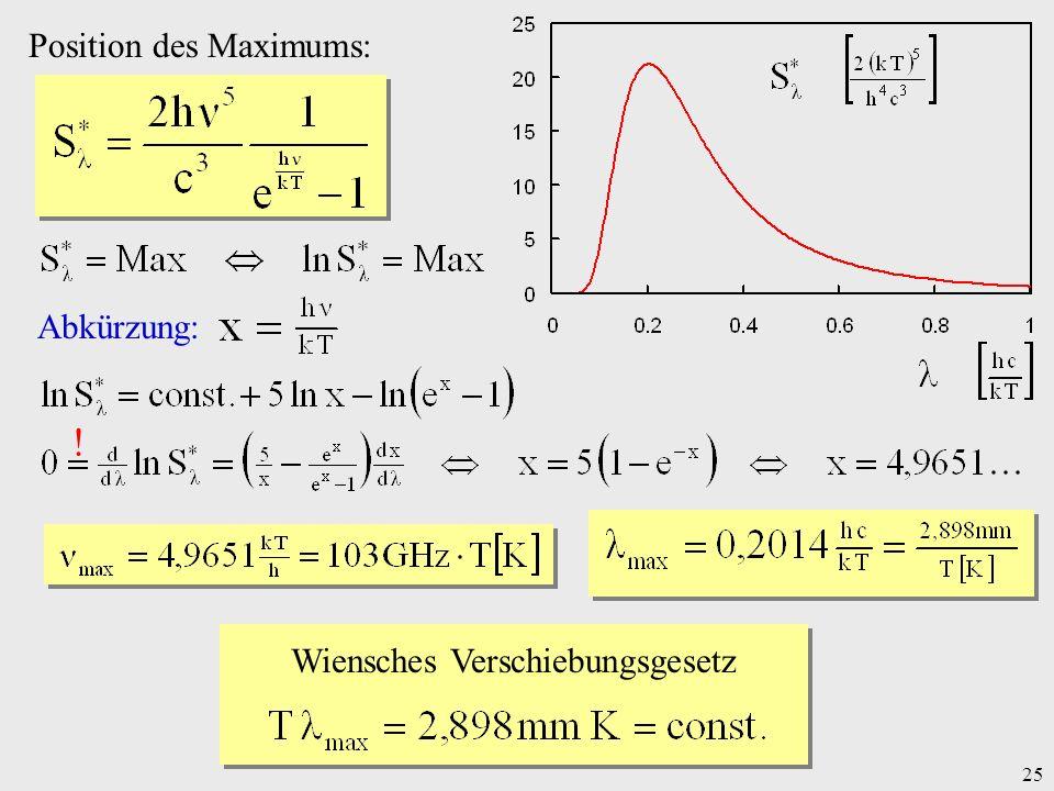 25 Position des Maximums: Abkürzung: ! Wiensches Verschiebungsgesetz