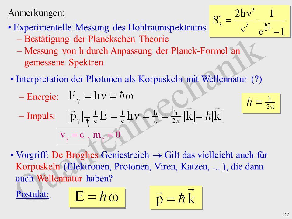 27 Quantenmechanik Anmerkungen: Experimentelle Messung des Hohlraumspektrums –Bestätigung der Planckschen Theorie –Messung von h durch Anpassung der P
