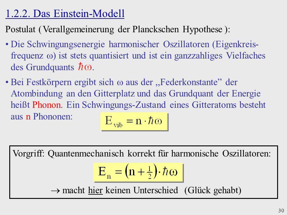 30 1.2.2. Das Einstein-Modell Postulat ( Verallgemeinerung der Planckschen Hypothese ): Die Schwingungsenergie harmonischer Oszillatoren (Eigenkreis-