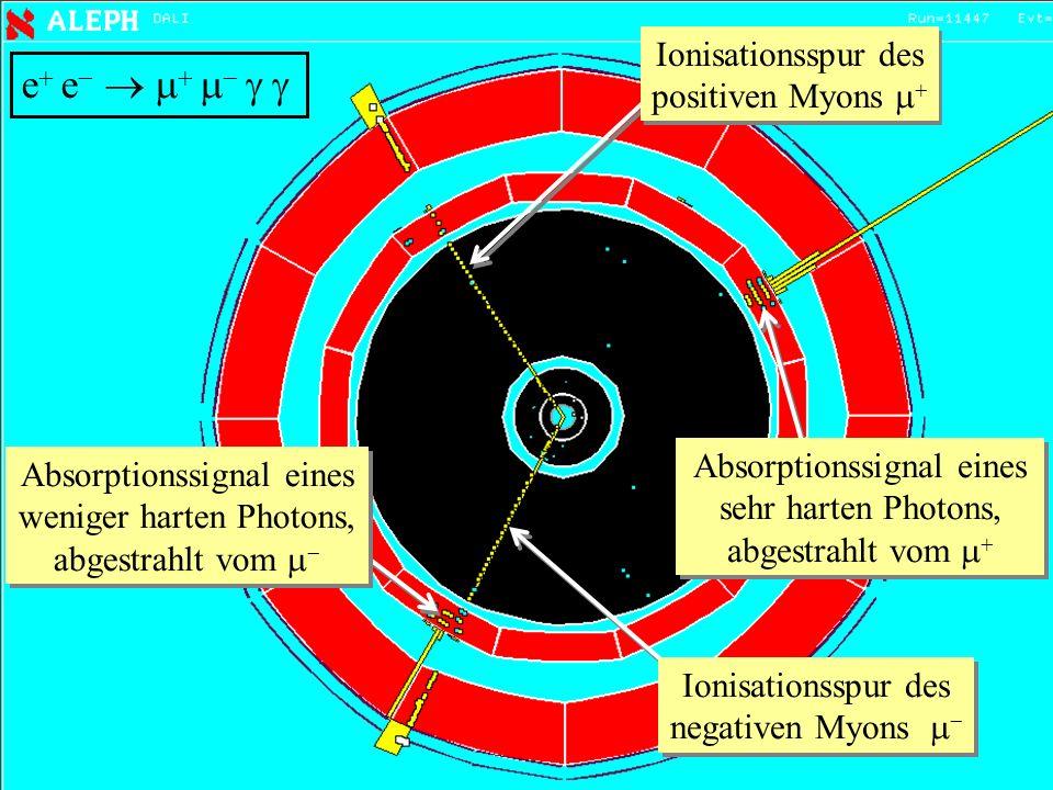 47 e e Ionisationsspur des positiven Myons Ionisationsspur des negativen Myons Absorptionssignal eines sehr harten Photons, abgestrahlt vom Absorption