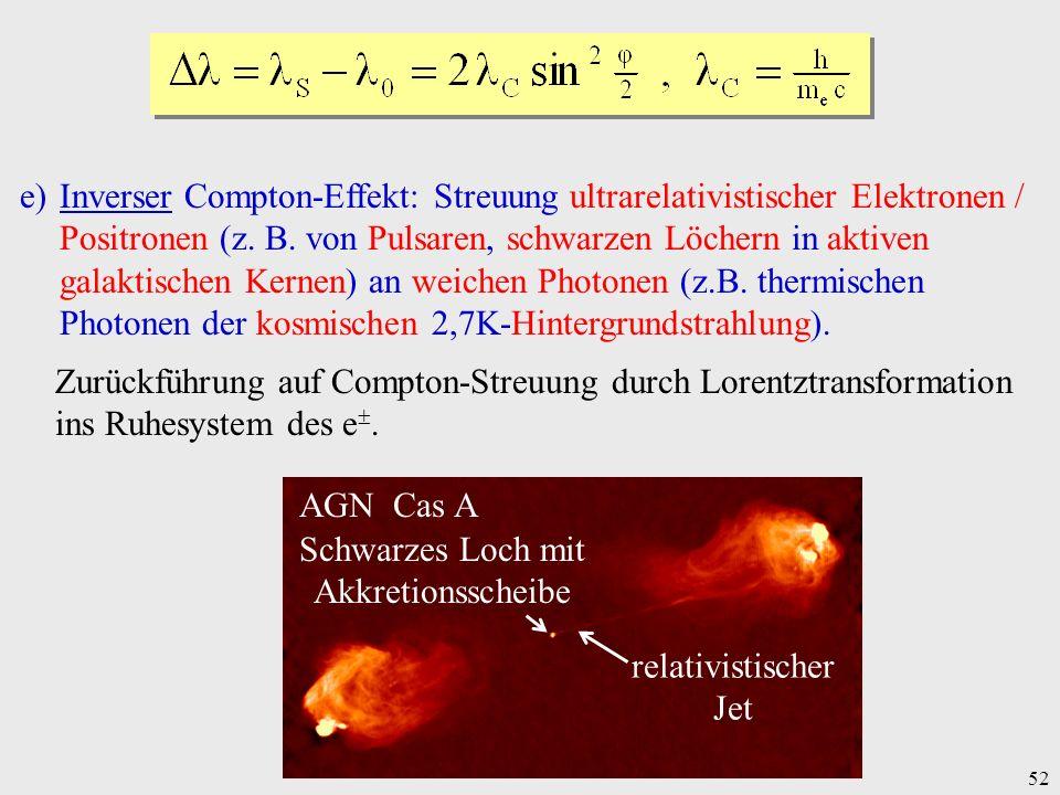 52 e)Inverser Compton-Effekt: Streuung ultrarelativistischer Elektronen / Positronen (z. B. von Pulsaren, schwarzen Löchern in aktiven galaktischen Ke