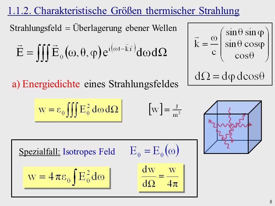 8 1.1.2. Charakteristische Größen thermischer Strahlung Strahlungsfeld Überlagerung ebener Wellen a)Energiedichte eines Strahlungsfeldes Spezialfall: