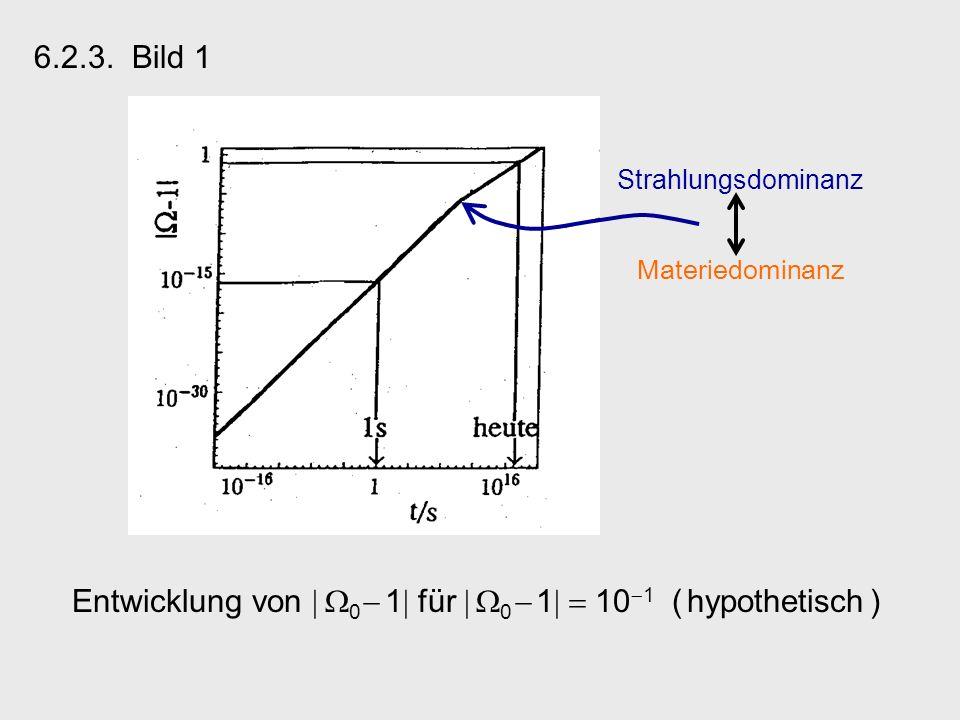 6.2.3. Bild 1 Entwicklung von 0 1 für 0 1 10 1 ( hypothetisch ) Strahlungsdominanz Materiedominanz