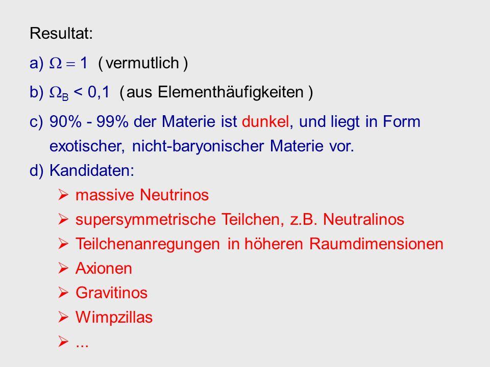 Resultat: a) 1 ( vermutlich ) b) B < 0,1 ( aus Elementhäufigkeiten ) c) 90% - 99% der Materie ist dunkel, und liegt in Form exotischer, nicht-baryonis