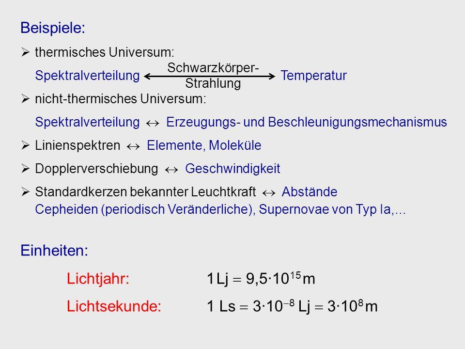 Beispiele: thermisches Universum: Spektralverteilung Temperatur nicht-thermisches Universum: Spektralverteilung Erzeugungs- und Beschleunigungsmechani