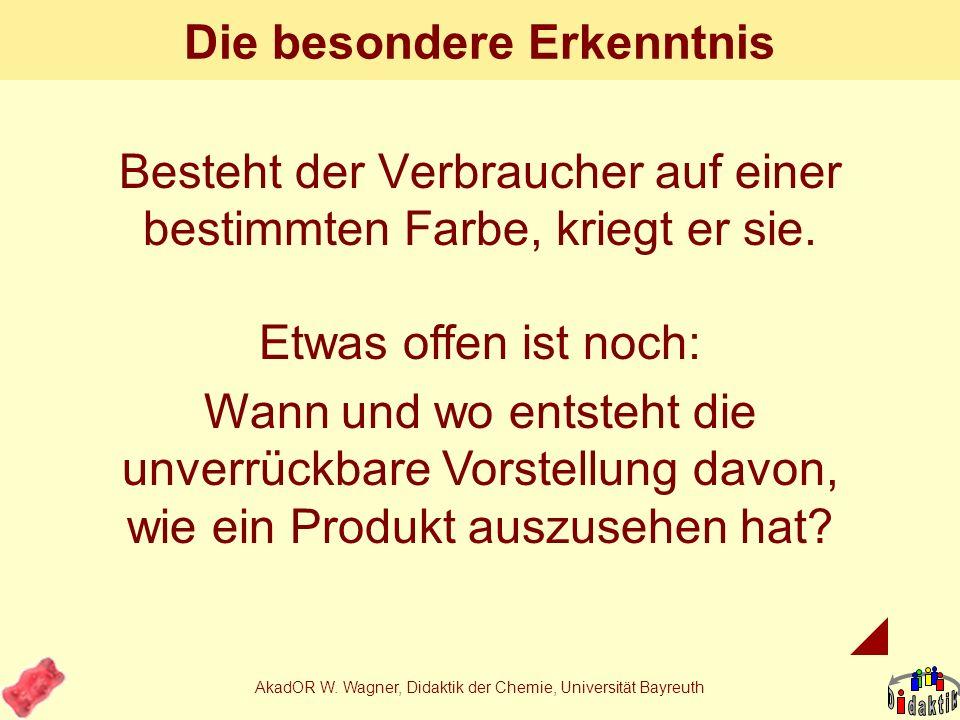 AkadOR W. Wagner, Didaktik der Chemie, Universität Bayreuth Was haben wir gelernt? Etwas über die Rolle von Farbstoffen in Lebensmitteln Dass es zwei