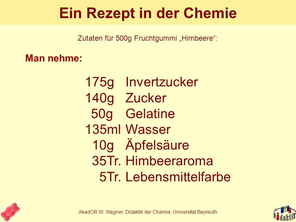 AkadOR W. Wagner, Didaktik der Chemie, Universität Bayreuth Beispiel: Herstellung von Fruchtgummi