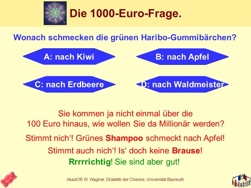 AkadOR W. Wagner, Didaktik der Chemie, Universität Bayreuth Projektschema Fruchtgummi SaccharoseWasser Invertzucker AromaAlkanolCarbonsäure 2x Destill