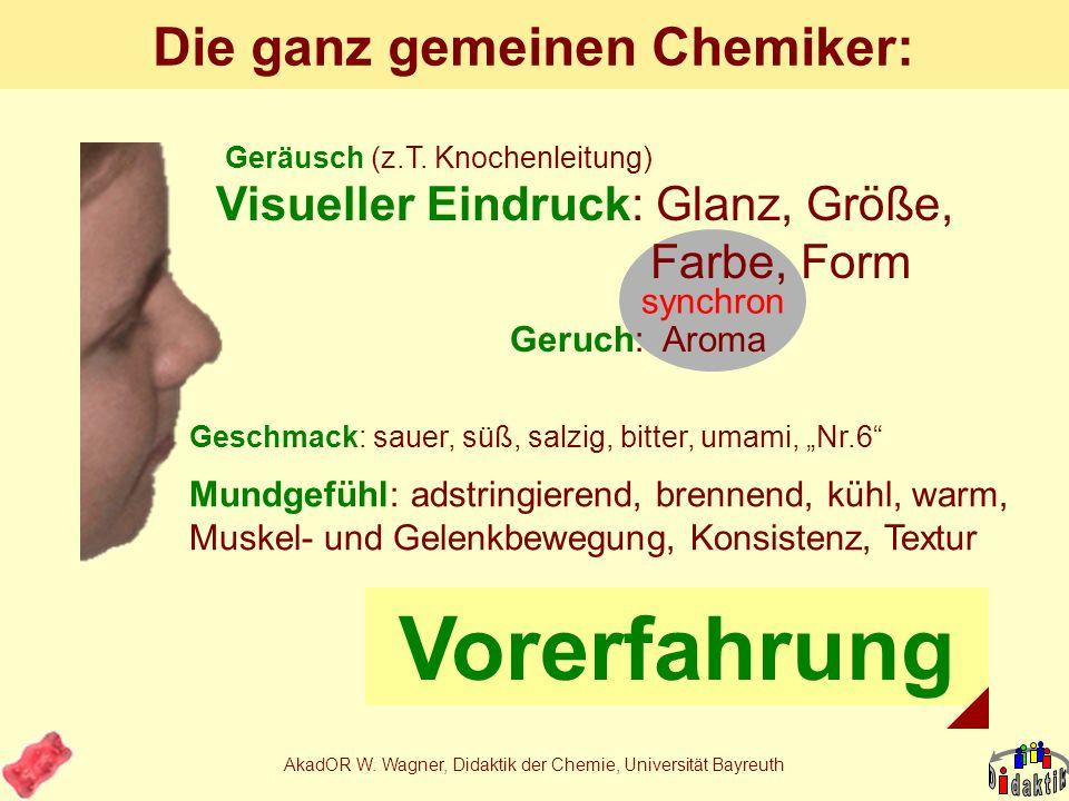 AkadOR W. Wagner, Didaktik der Chemie, Universität Bayreuth Die 1000-Euro-Frage. Wonach schmecken die grünen Haribo-Gummibärchen? A: nach KiwiB: nach
