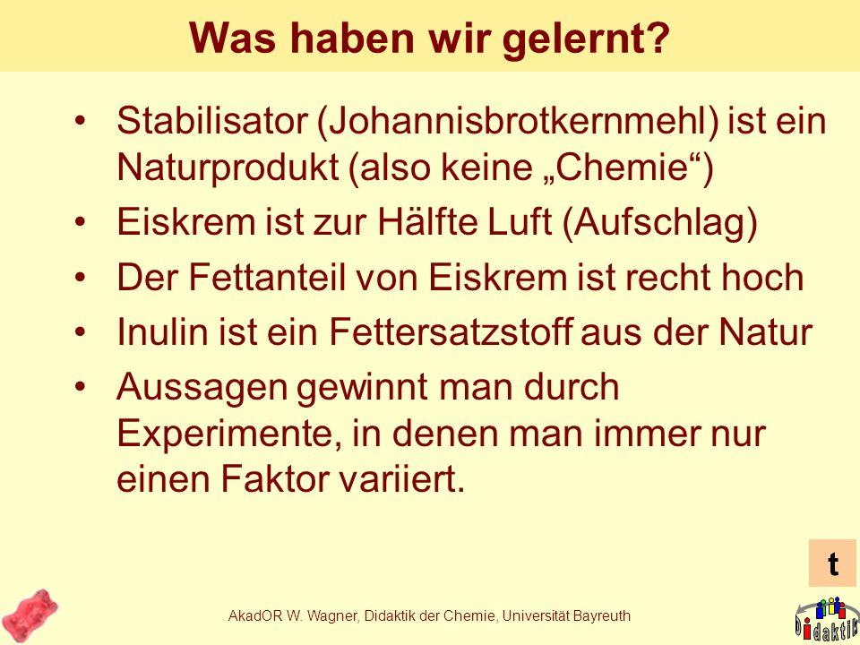 AkadOR W. Wagner, Didaktik der Chemie, Universität Bayreuth Eiskrem in der Lehrerfortbildung