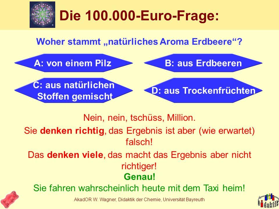 AkadOR W. Wagner, Didaktik der Chemie, Universität Bayreuth Rezept Andrea 4 Nr.NameGef.Menge 123-Hydroxy-2-methyl-4-pyronXngr. Spatelsp. 13VanillinXng