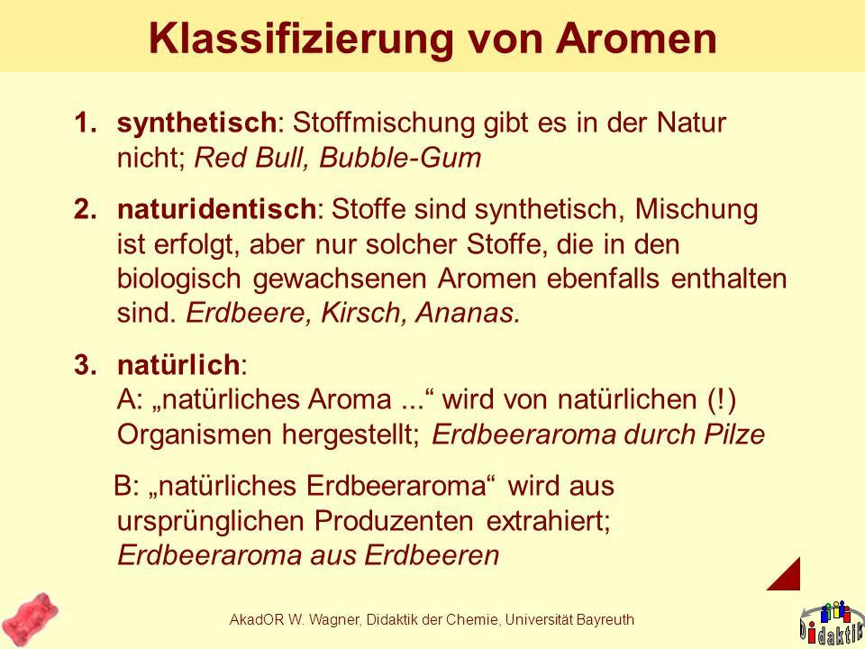 AkadOR W. Wagner, Didaktik der Chemie, Universität Bayreuth Woher stammt natürliches Aroma Erdbeere? A: von einem PilzB: aus Erdbeeren C: aus natürlic