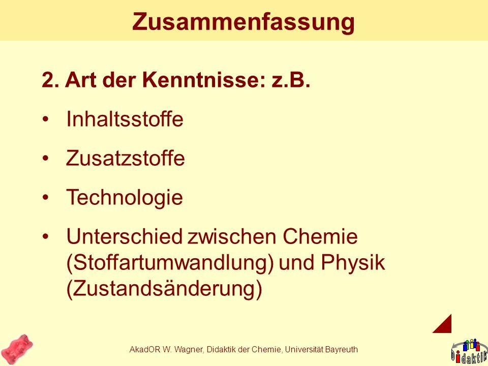 AkadOR W. Wagner, Didaktik der Chemie, Universität Bayreuth Zusammenfassung 1.Warum im CU Kenntnisse über Lebensmittel vermitteln: Wo denn sonst? Zusa