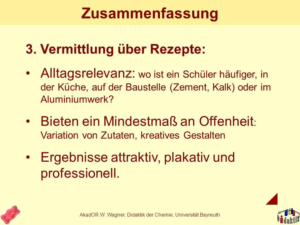 AkadOR W. Wagner, Didaktik der Chemie, Universität Bayreuth Zusammenfassung 2. Art der Kenntnisse: z.B. Inhaltsstoffe Zusatzstoffe Technologie Untersc