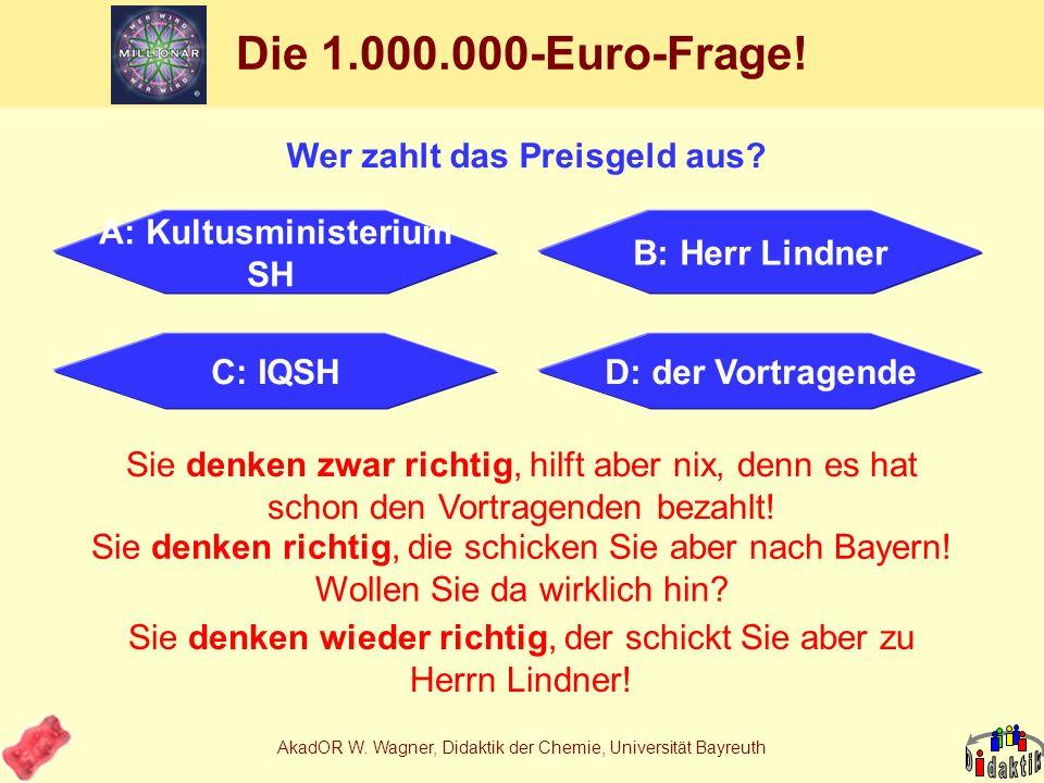 AkadOR W. Wagner, Didaktik der Chemie, Universität Bayreuth Meine Schlussfolgerungen 1.Auch mit Lebensmitteln kann man Chemie unterrichten. 2.Kommuniz