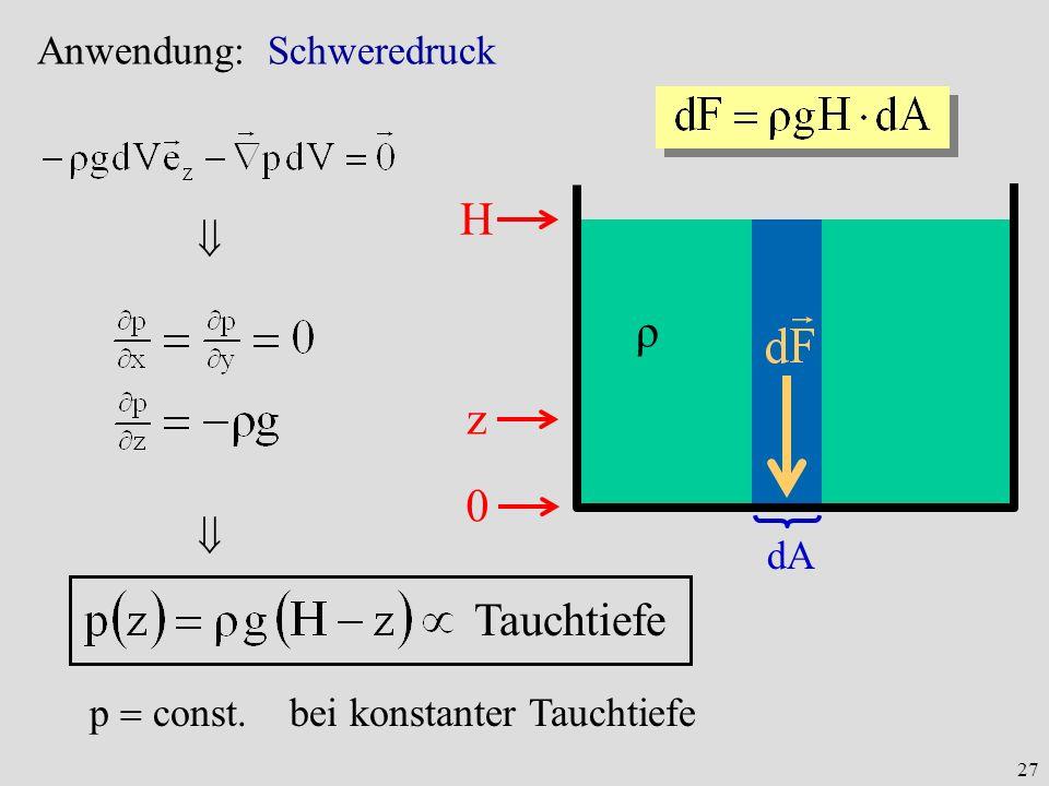 27 Anwendung: Schweredruck 0 z H dA ρ p const. bei konstanter Tauchtiefe Tauchtiefe