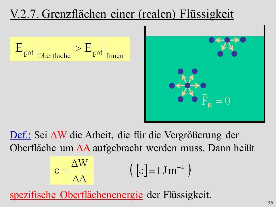 36 V.2.7. Grenzflächen einer (realen) Flüssigkeit Def.: Sei W die Arbeit, die für die Vergrößerung der Oberfläche um A aufgebracht werden muss. Dann h