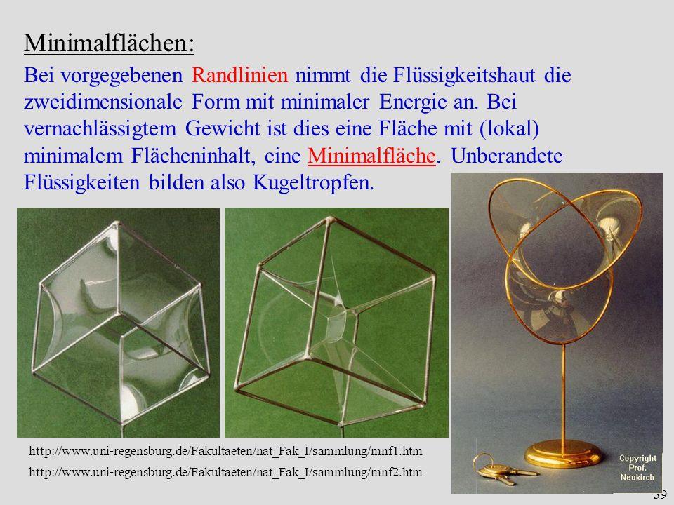 39 Minimalflächen: Bei vorgegebenen Randlinien nimmt die Flüssigkeitshaut die zweidimensionale Form mit minimaler Energie an. Bei vernachlässigtem Gew
