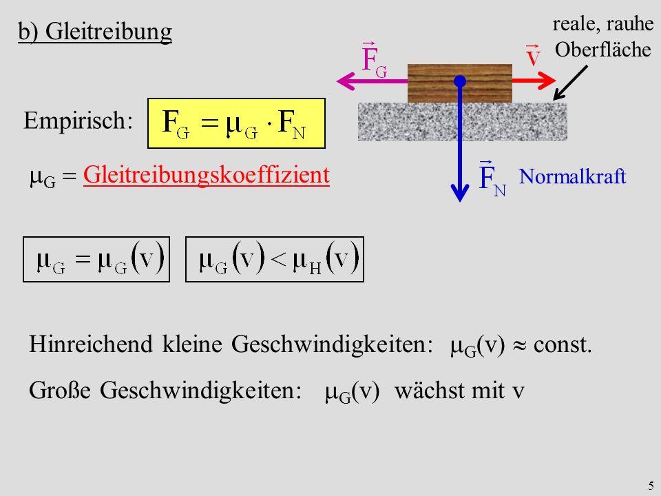 5 b) Gleitreibung Empirisch: G Gleitreibungskoeffizient reale, rauhe Oberfläche Normalkraft Hinreichend kleine Geschwindigkeiten: G v const. Große Ges