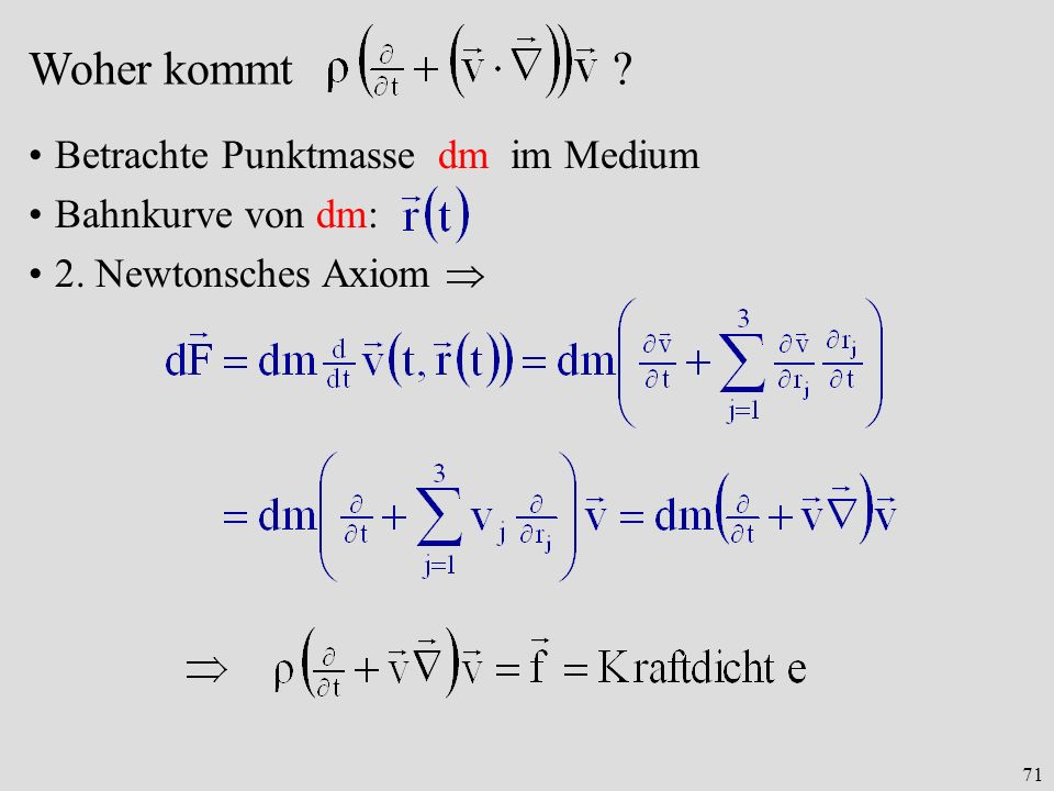 71 Woher kommt ? Betrachte Punktmasse dm im Medium Bahnkurve von dm: 2. Newtonsches Axiom