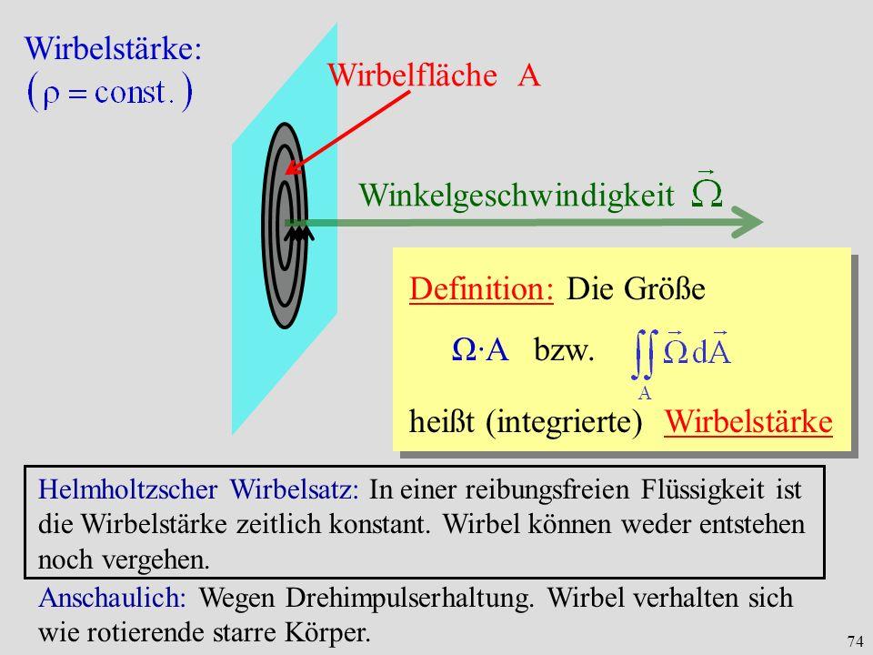 74 Wirbelstärke: Wirbelfläche A Winkelgeschwindigkeit Definition: Die Größe Ω·A bzw. heißt (integrierte) Wirbelstärke Helmholtzscher Wirbelsatz: In ei