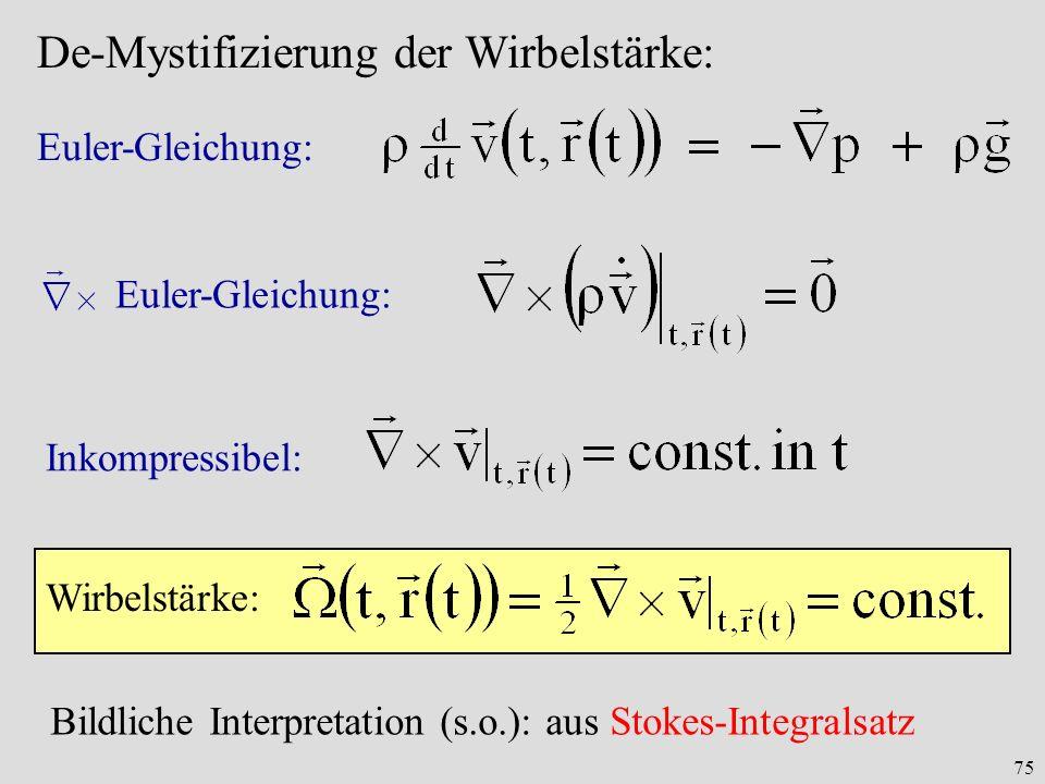 75 De-Mystifizierung der Wirbelstärke: Euler-Gleichung: Inkompressibel: Wirbelstärke: Bildliche Interpretation (s.o.): aus Stokes-Integralsatz