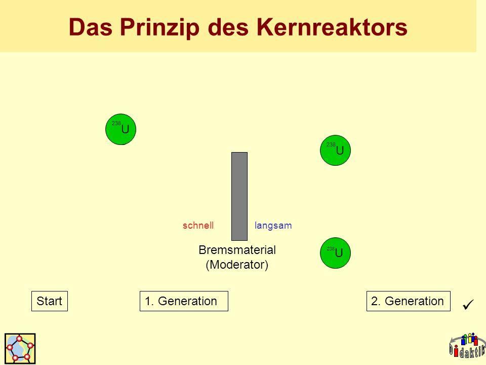 y x n n n n n y x n n y x n n Bremsmaterial (Moderator) schnell langsam 238 U Start1. Generation2. Generation Das Prinzip des Kernreaktors