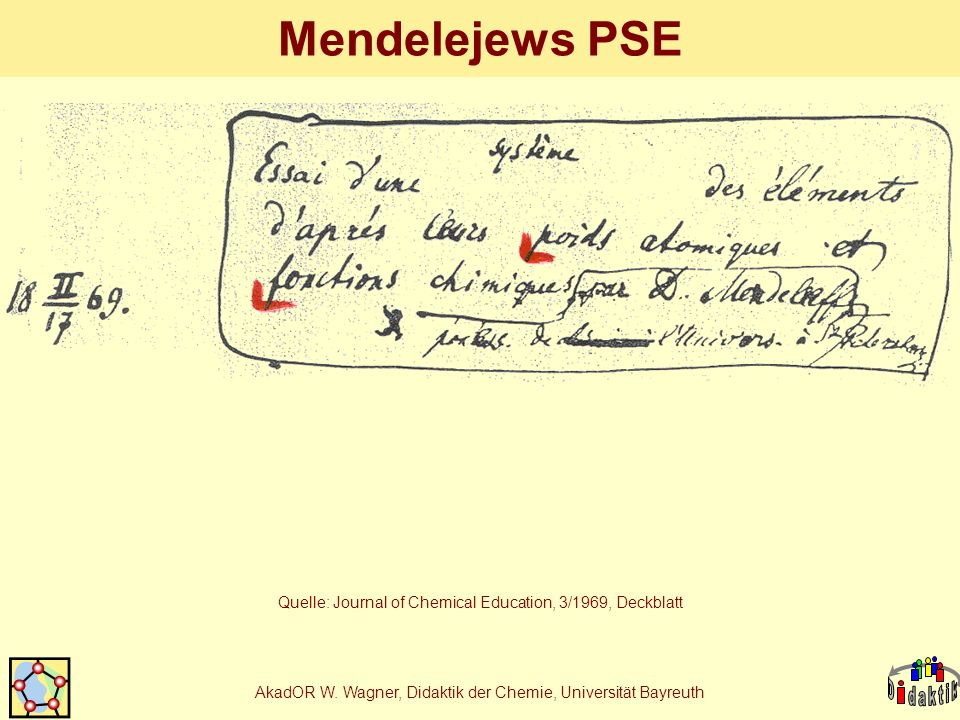 AkadOR W. Wagner, Didaktik der Chemie, Universität Bayreuth Mendelejews PSE Quelle: Journal of Chemical Education, 3/1969, Deckblatt