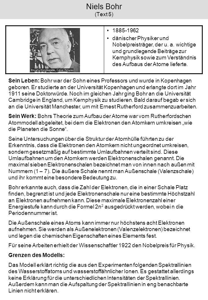 Niels Bohr (Text 5) 1885-1962 dänischer Physiker und Nobelpreisträger, der u. a. wichtige und grundlegende Beiträge zur Kernphysik sowie zum Verständn