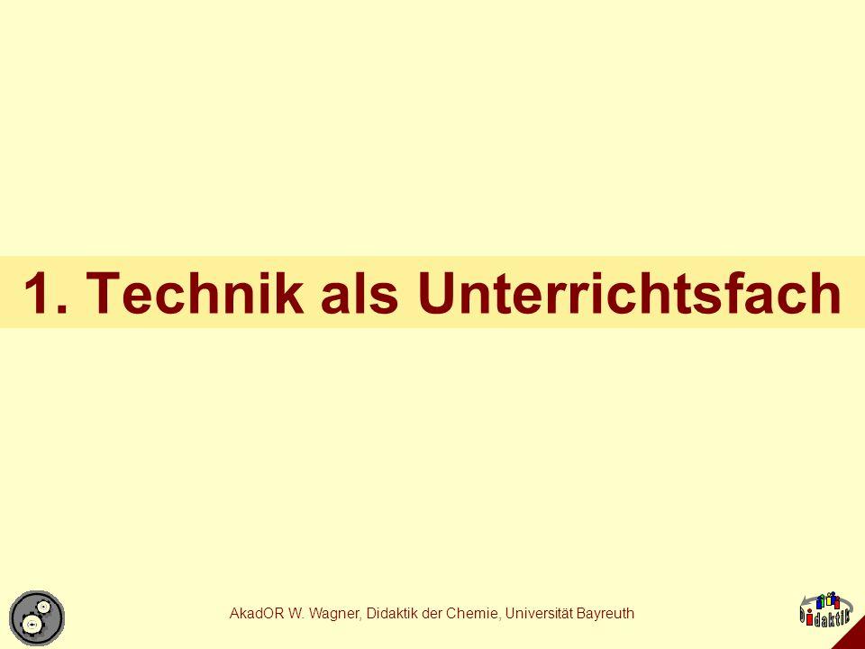 AkadOR W.Wagner, Didaktik der Chemie, Universität Bayreuth Technische Aufgabenstellungen Grp.
