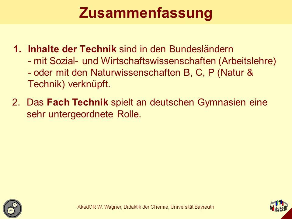 AkadOR W.Wagner, Didaktik der Chemie, Universität Bayreuth Wie sehen uns die Techniker.
