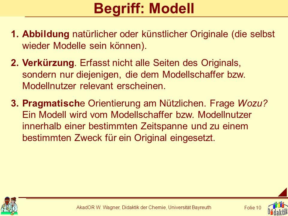 AkadOR W. Wagner, Didaktik der Chemie, Universität Bayreuth Folie 10 Begriff: Modell 1.Abbildung natürlicher oder künstlicher Originale (die selbst wi