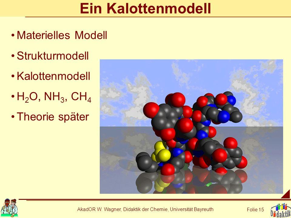 AkadOR W. Wagner, Didaktik der Chemie, Universität Bayreuth Folie 15 Ein Kalottenmodell Materielles Modell Strukturmodell Kalottenmodell H 2 O, NH 3,