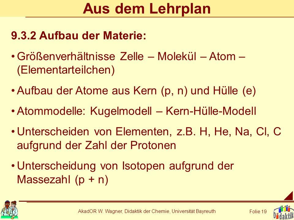 AkadOR W. Wagner, Didaktik der Chemie, Universität Bayreuth Folie 19 Aus dem Lehrplan 9.3.2 Aufbau der Materie: Größenverhältnisse Zelle – Molekül – A