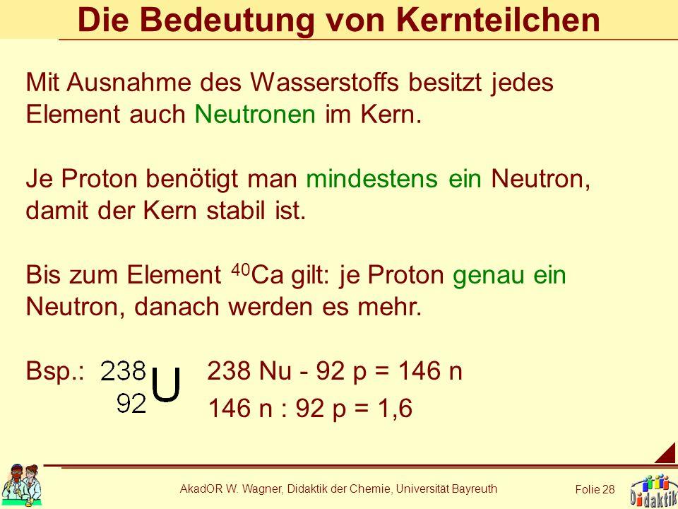 AkadOR W. Wagner, Didaktik der Chemie, Universität Bayreuth Folie 28 Die Bedeutung von Kernteilchen Je Proton benötigt man mindestens ein Neutron, dam