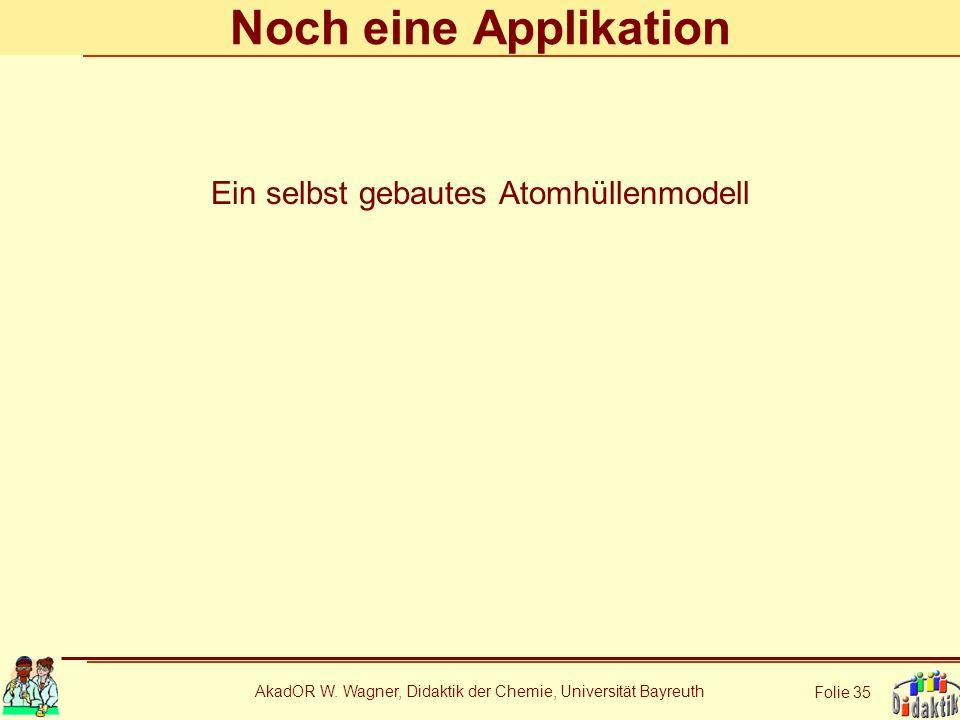 AkadOR W. Wagner, Didaktik der Chemie, Universität Bayreuth Folie 35 Noch eine Applikation Ein selbst gebautes Atomhüllenmodell