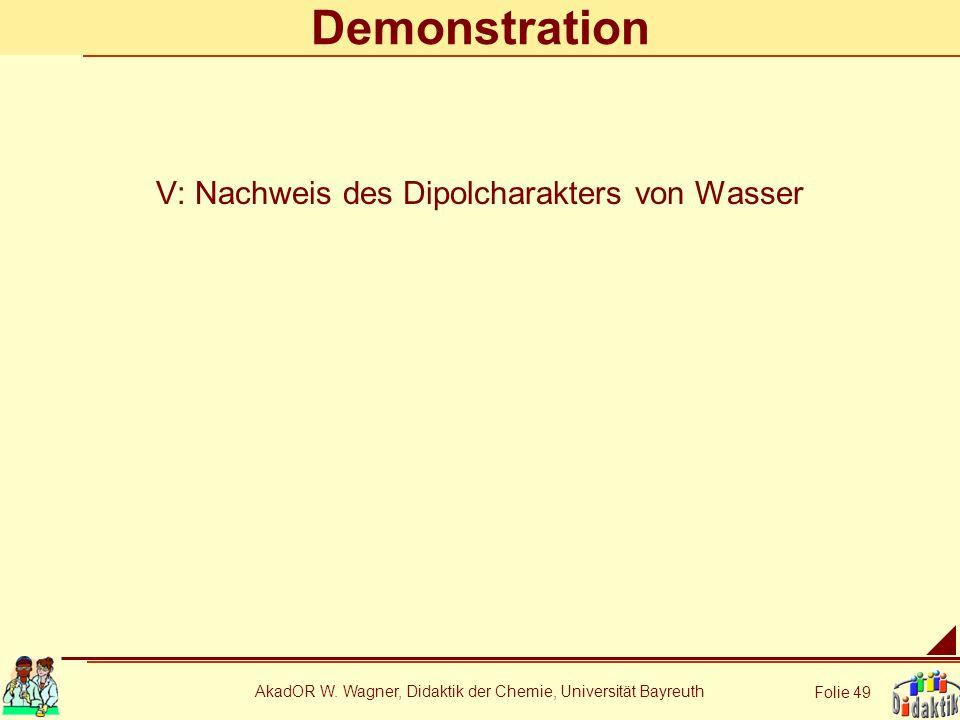 AkadOR W. Wagner, Didaktik der Chemie, Universität Bayreuth Folie 49 Demonstration V: Nachweis des Dipolcharakters von Wasser