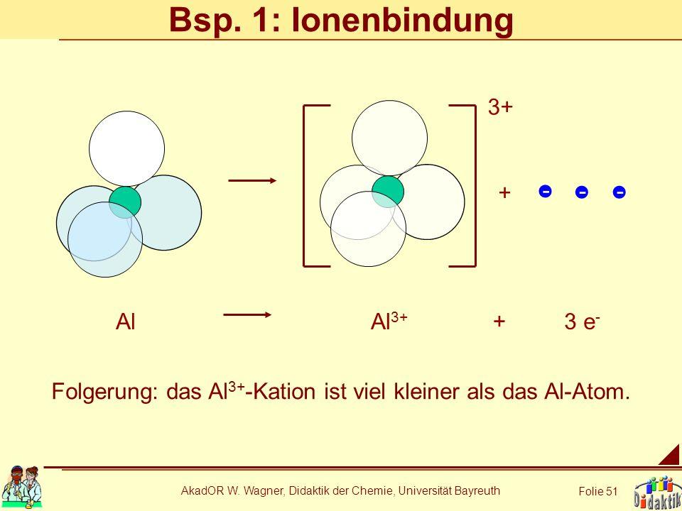AkadOR W. Wagner, Didaktik der Chemie, Universität Bayreuth Folie 51 Bsp. 1: Ionenbindung AlAl 3+ 3 e - + + 3+ - -- Folgerung: das Al 3+ -Kation ist v