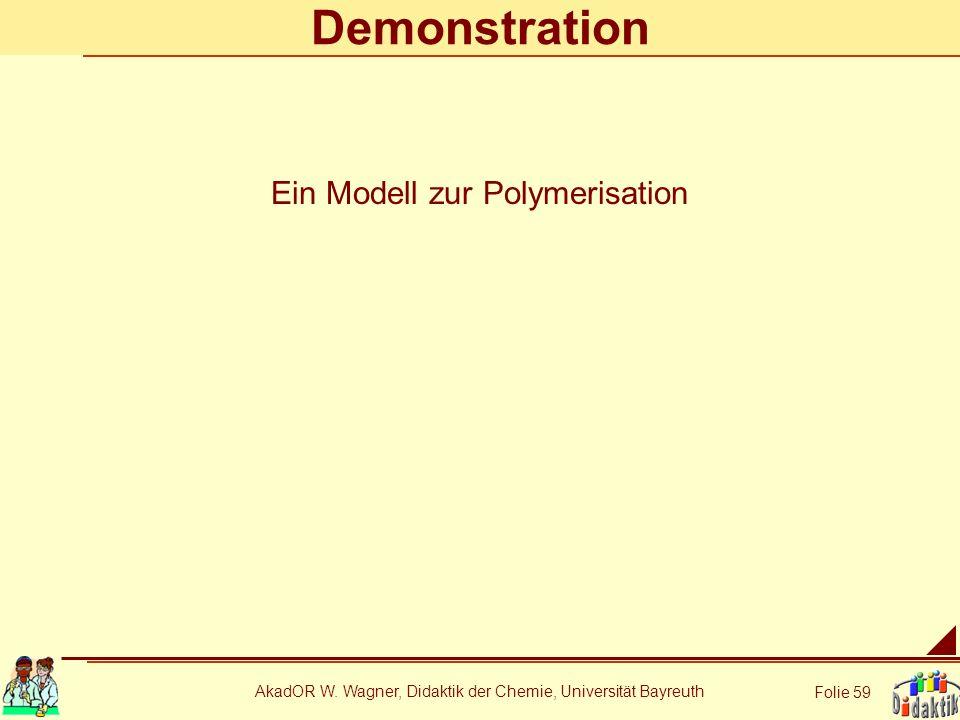 AkadOR W. Wagner, Didaktik der Chemie, Universität Bayreuth Folie 59 Demonstration Ein Modell zur Polymerisation
