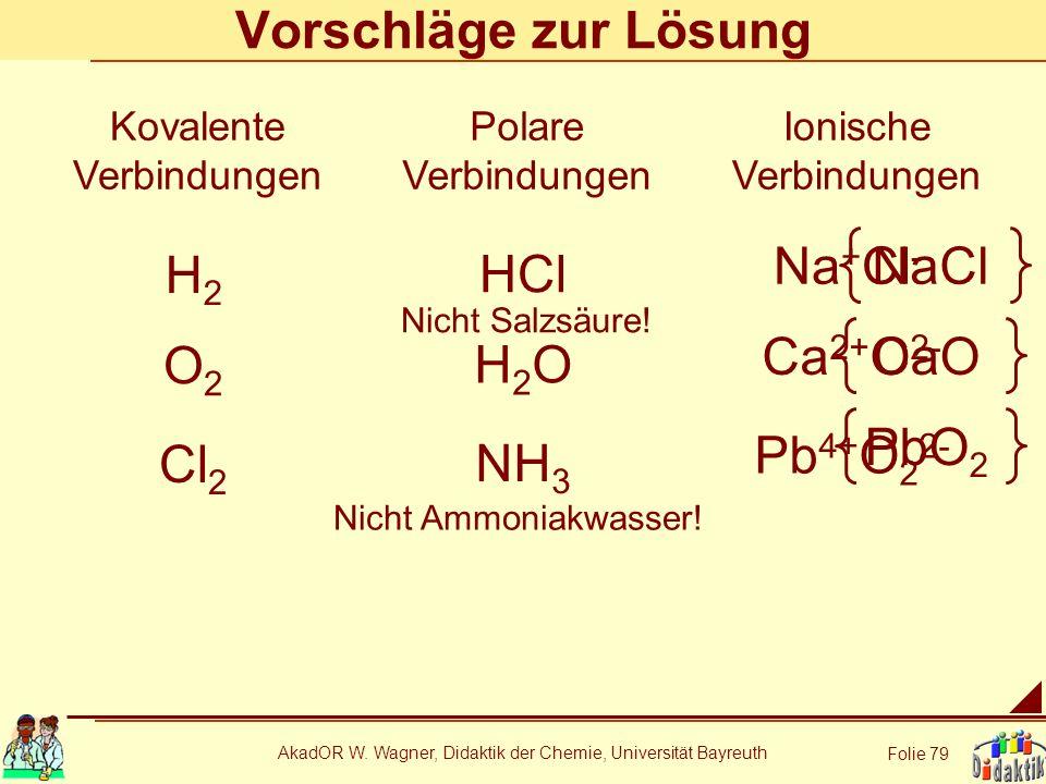 AkadOR W. Wagner, Didaktik der Chemie, Universität Bayreuth Folie 79 Vorschläge zur Lösung HCl Kovalente Verbindungen Polare Verbindungen Ionische Ver