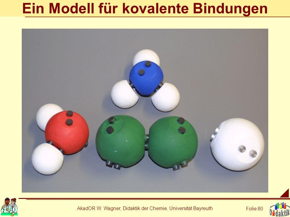 AkadOR W. Wagner, Didaktik der Chemie, Universität Bayreuth Folie 80 Ein Modell für kovalente Bindungen