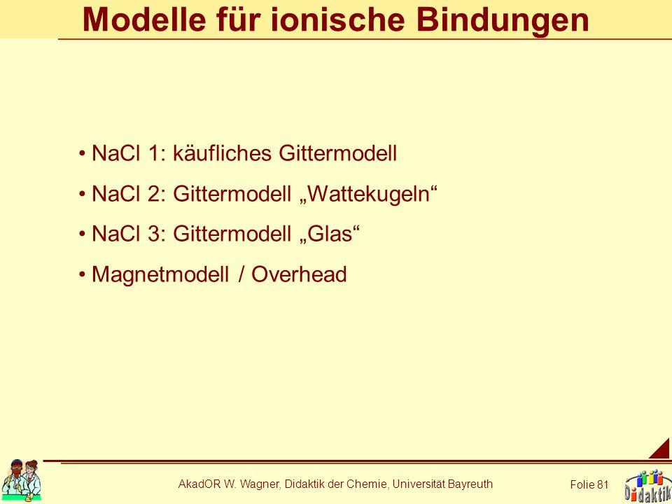 AkadOR W. Wagner, Didaktik der Chemie, Universität Bayreuth Folie 81 Modelle für ionische Bindungen NaCl 1: käufliches Gittermodell NaCl 2: Gittermode