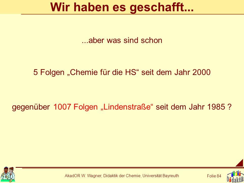 AkadOR W. Wagner, Didaktik der Chemie, Universität Bayreuth Folie 84 Wir haben es geschafft... 5 Folgen Chemie für die HS seit dem Jahr 2000 gegenüber