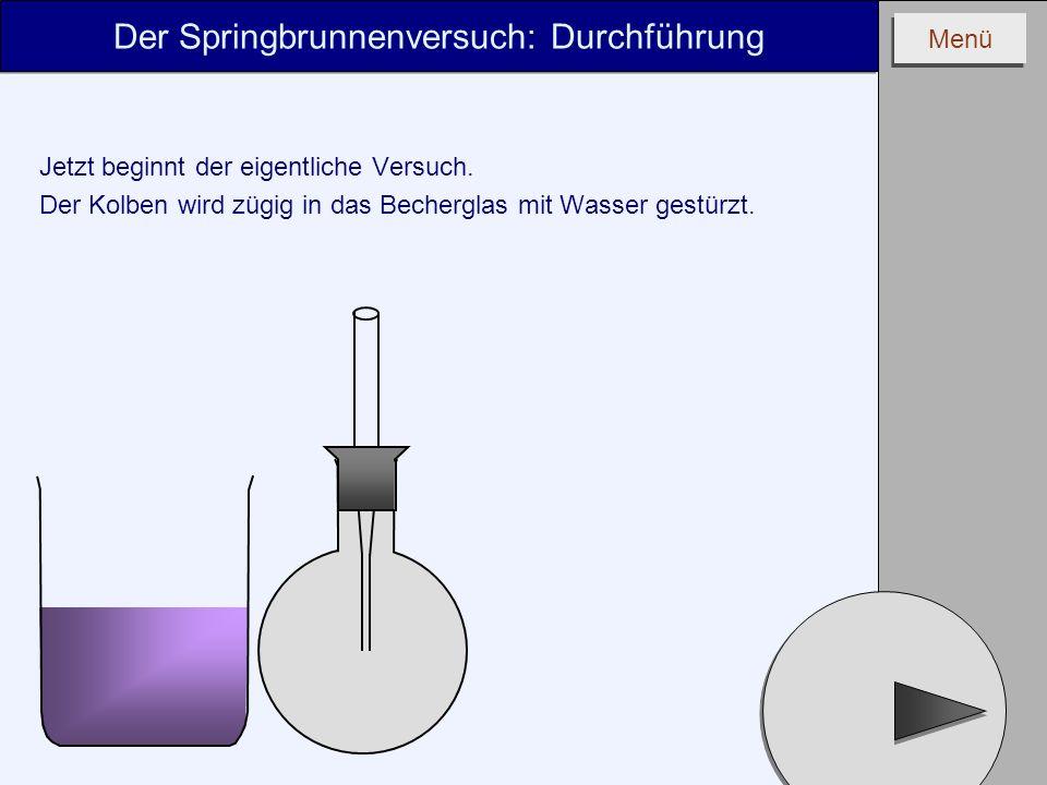 Menü Der Springbrunnenversuch: Durchführung Jetzt beginnt der eigentliche Versuch. Der Kolben wird zügig in das Becherglas mit Wasser gestürzt.
