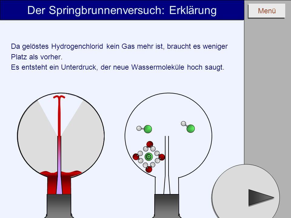 Menü Da gelöstes Hydrogenchlorid kein Gas mehr ist, braucht es weniger Platz als vorher. Es entsteht ein Unterdruck, der neue Wassermoleküle hoch saug