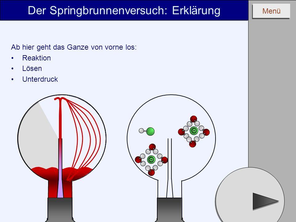 Menü Ab hier geht das Ganze von vorne los: Reaktion Lösen Unterdruck Der Springbrunnenversuch: Erklärung